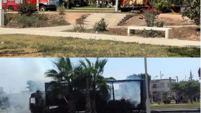 حريق يلتهم شاحنة بأكادير ويخلف خسائر مادية كبيرة (فيديو)