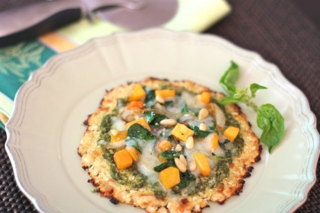 Cauliflower Crust Pizza with Pesto, Butternut Squash, and Spinach from Me!