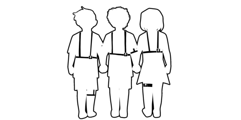 Outline of three children wearing GED electroshock behavior therapy devices