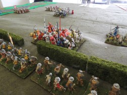 French mounted knights got as far as the hedge before being blasted by Gascon crossbowmen.