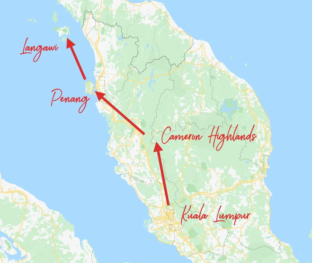 Malaysia Itinerary - map