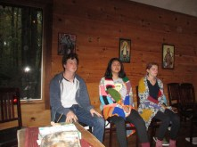 Troy, Xochitl and Claire meditating at morning prayer