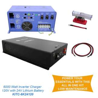 off grid power back up 6 kw inverter charger and 300 amp 48 volt lithium battery