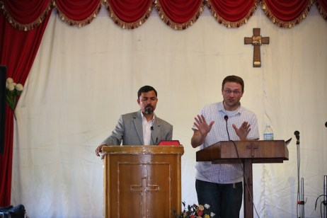 Dan giving his sermon at SARA Church