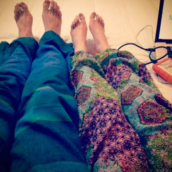 We bought in to the hippy clothes too — our new happy pants