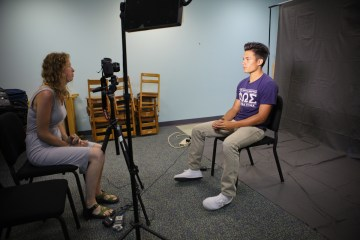 Behind the scenes of one of our 21 interview set ups.