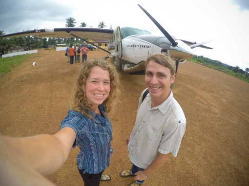 Our first landing on a dirt runway!