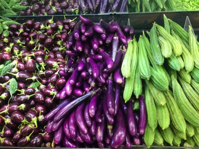 Crazy, beautiful veggies at an Indian grocery store in Charlotte