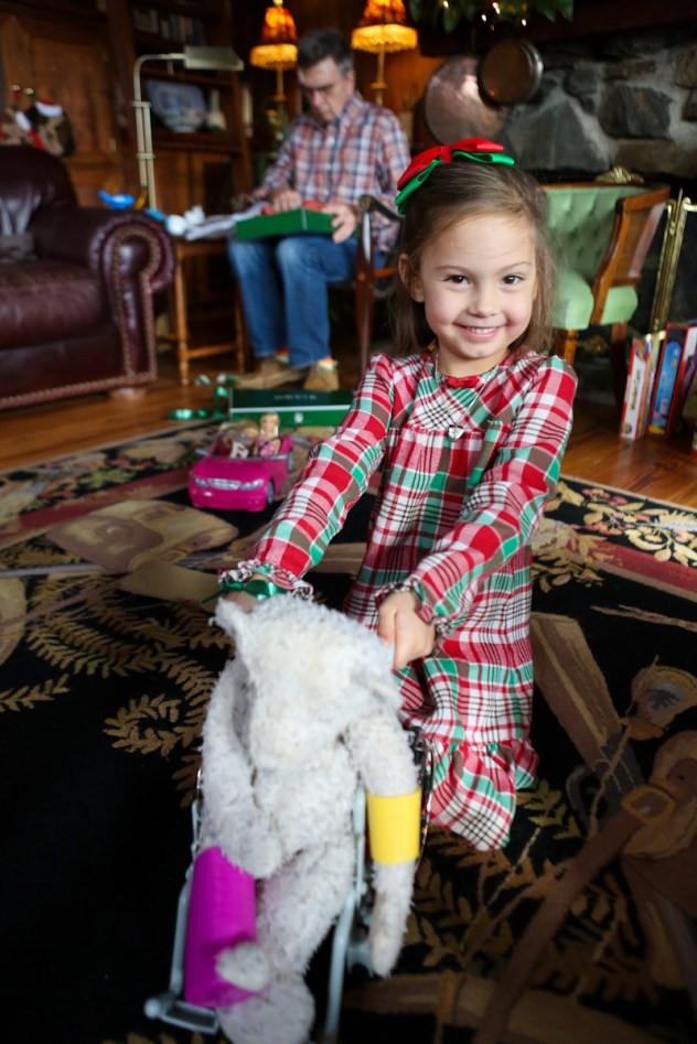 Poor teddy bear has a broken arm and leg — at least he got a new wheel chair though!