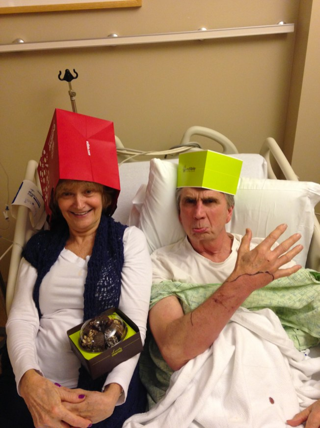 Cassie's dad in the hospital with blood poisoning from a cat bite a few days before Christmas. Despite it all, he still had his sense of humor!