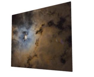 Infused onto sleek metal panel creates a luminous look