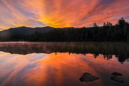 Sunrise at Lonesome Lake in the White Mountains.
