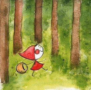 Caperucita Roja paseándose por el parque