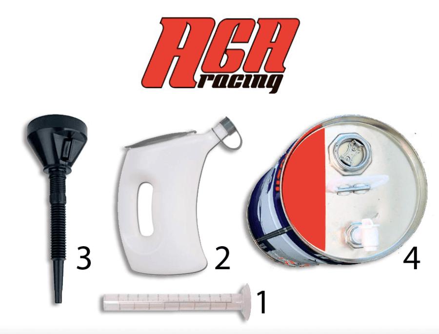 Material necesario mezcla aceite y gasolina karting AGA Racing tienda kart