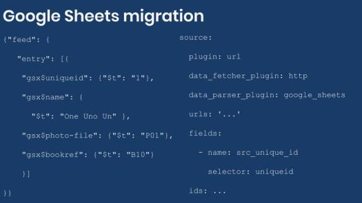 Example configuration for Google Sheets migration
