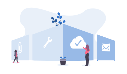 Illustration of people standing next to giant icons representing productivity.