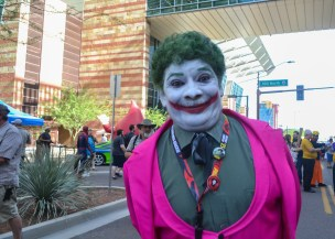 Jimmy Rosario takes pride in his Joker costume at Comicon in downtown Phoenix Saturday afternoon.