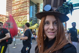 Janice smiles as she enjoys Comicon in downtown Phoenix Saturday afternoon.