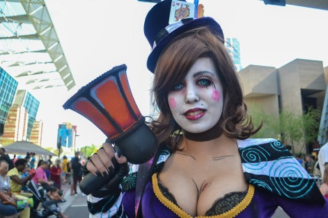 Sherring holds up her prop at Comicon in downtown Phoenix Saturday afternoon.