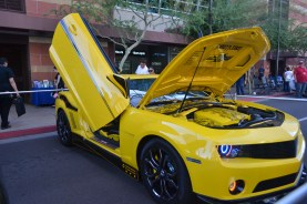 A Transformers car is shown off at Comicon in downtown Phoenix Saturday afternoon.