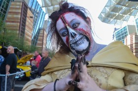 Geneva Brown creepily poses for the camera at Comicon in downtown Phoenix Saturday afternoon.