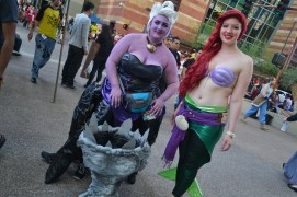 Heather Smalley (left) and Ball (right) smile as they are content with their Disney costumes at Comicon in downtown Phoenix Saturday afternoon.