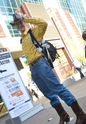 Tyler G. Woida shows his Woody costume Comicon in downtown Phoenix Saturday afternoon.