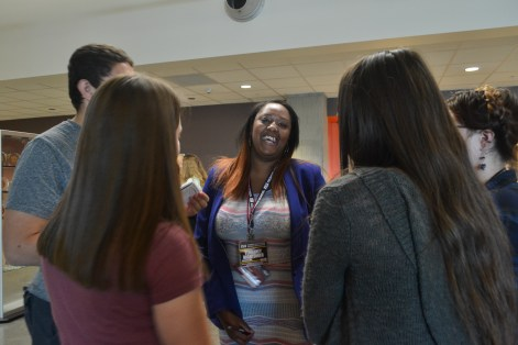 Terraney Hightower has a laugh while doing an interview excercise during the Summer Journalism Program on June 4, 2015.