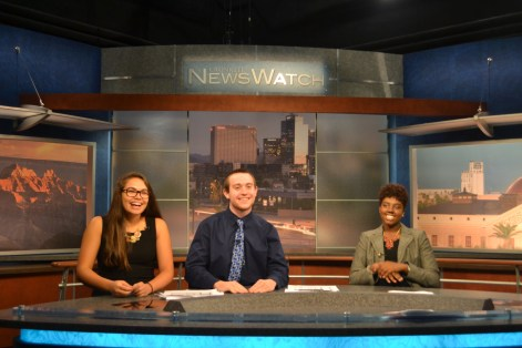 Danielle Gee (left), John Leffue (middle) and Myasia Mclaren (right) have a good time while doing a segment during the Summer Journalism Program on June 10, 2015.