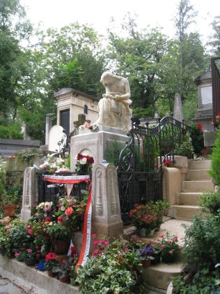 Chopin's grave at Pere Lachaise Cemetery in Paris