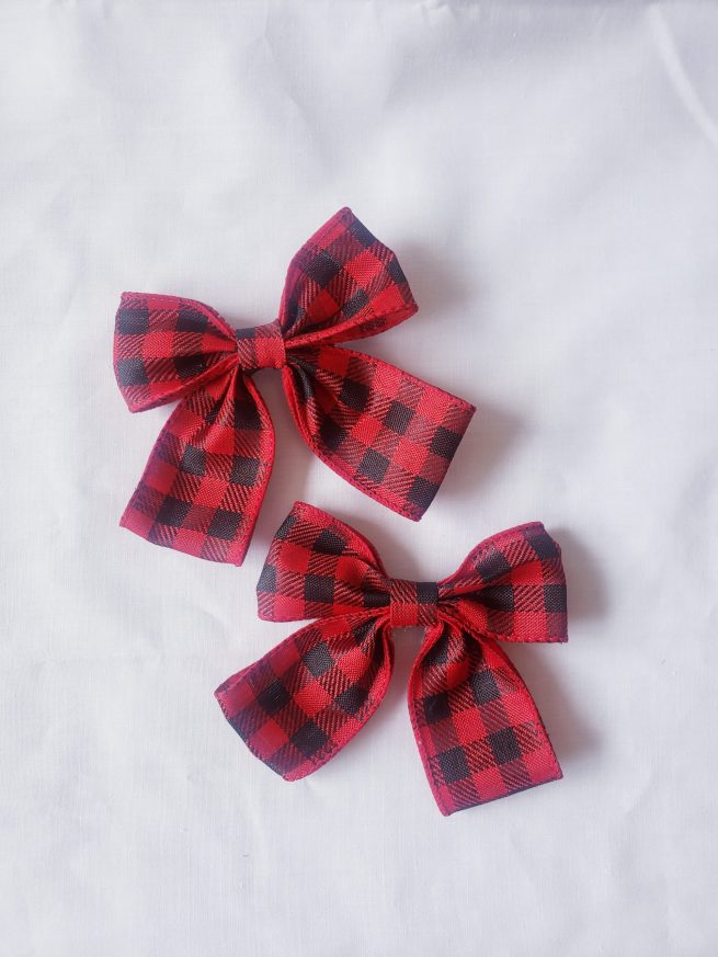 Red plaid bow hair clip