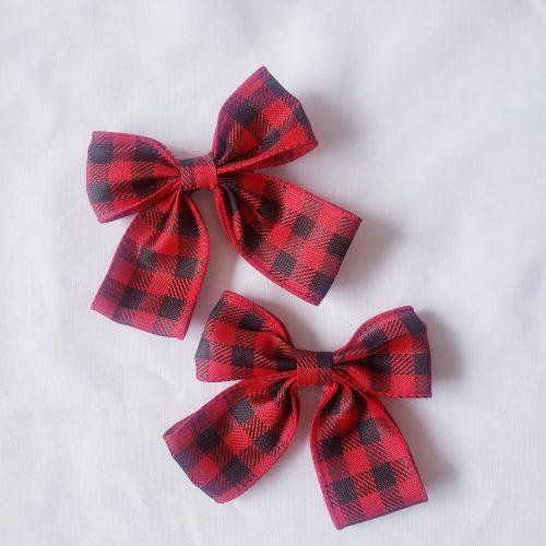 Red plaid bow hair clip