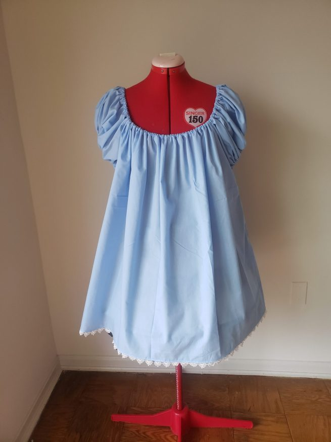 Light Blue Cotton Chemise and Peignoir