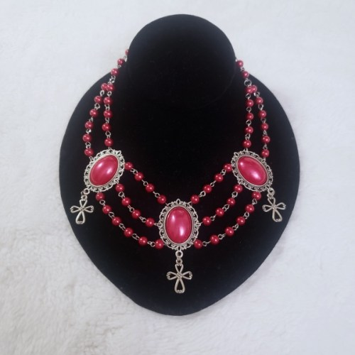 noble jewels bloody cross red necklace