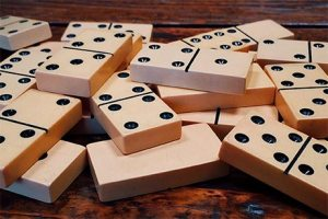 Dominoes on a table