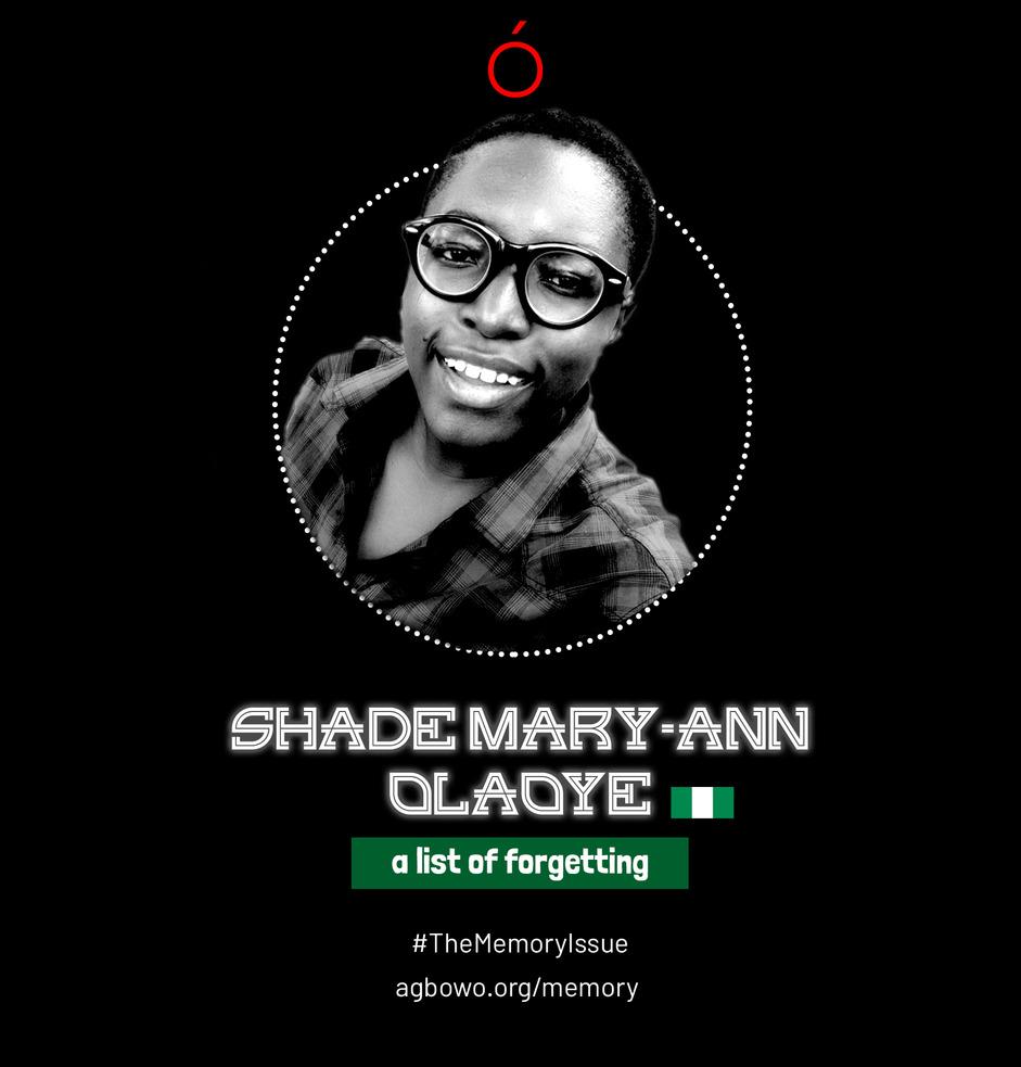 Shade Mary Ann Olaoye The Memory Issue Agbowo Art Magazine
