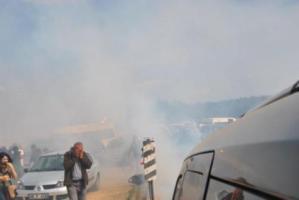 Pazarcık'ta sığınmacı kampı protestosuna biber gazlı müdahale