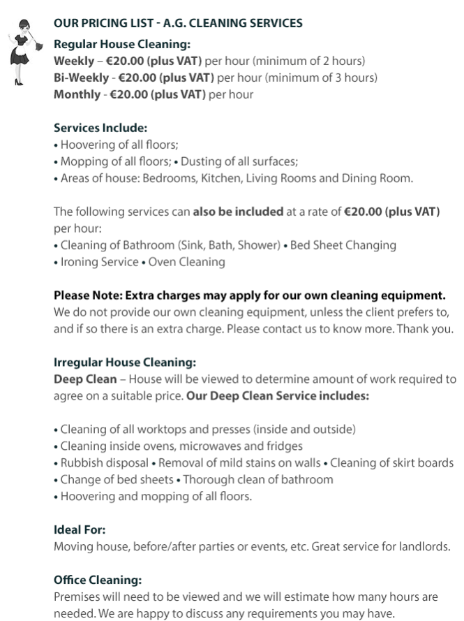 how much to charge for house cleaning green service