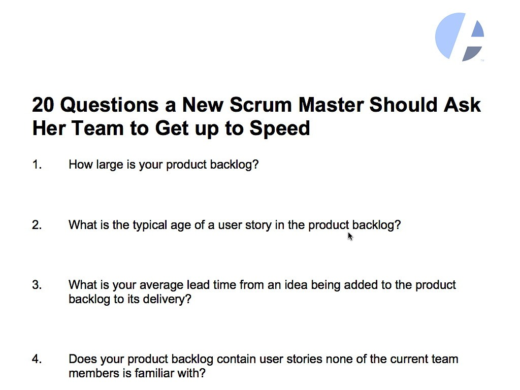 20 Questions A New Scrum Master Should Ask Her Team
