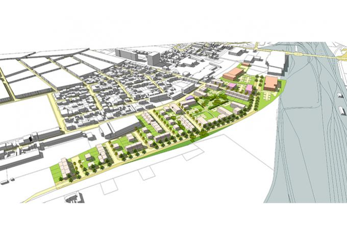 Perspective aérienne de la proposition d'aménagement – Vue de l'est