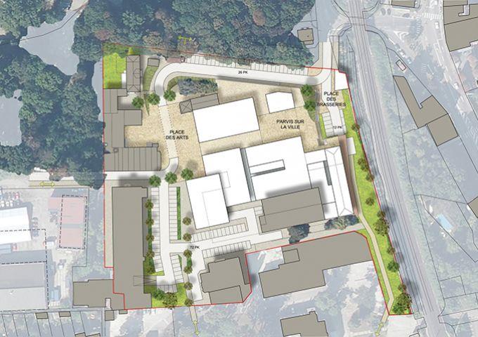 Maxeville : Plan masse de l'aménagement du site des Grandes Brasseries