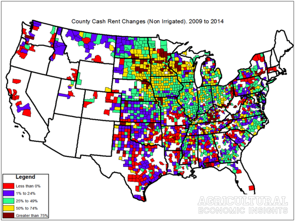 Changes in Cash Rent. Ag Trends. Agricultural Economic Insights