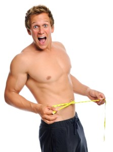 Man is amazed with new waist line measurement