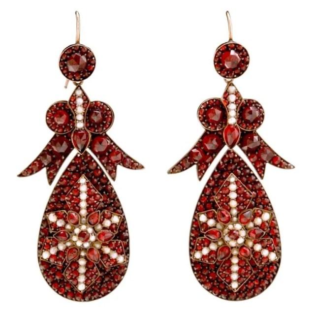 Antique garnet earrings