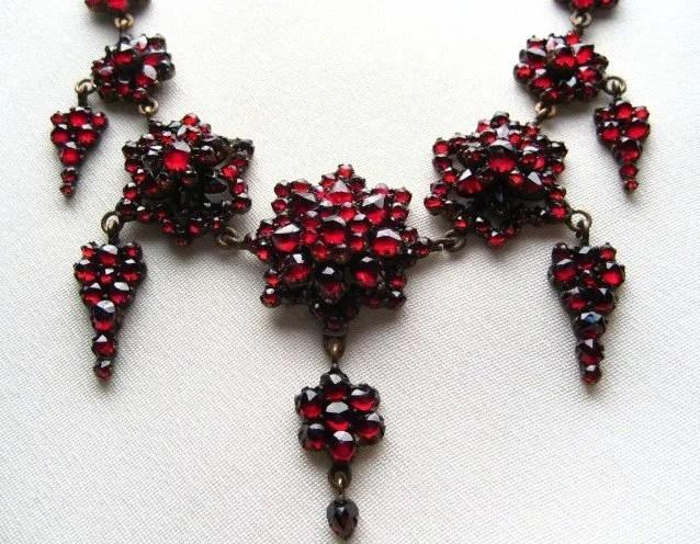 Antique bohemian garnet jewelry