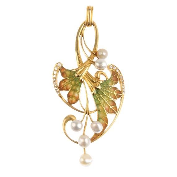An Art Nouveau gold plique-a-jour enamel pearl and diamond pendant.