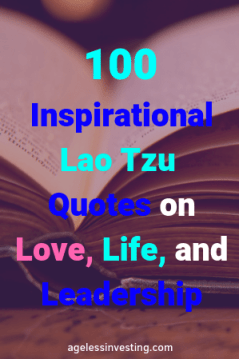 "A side view of an open book, headline ""100 Inspirational Lao Tzu Quotes on love, life, and leadership"" agelessinvesting.com"