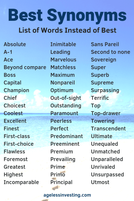 "A beach on a sunny day, ""Best Synonyms: List of Words Instead of Best"""