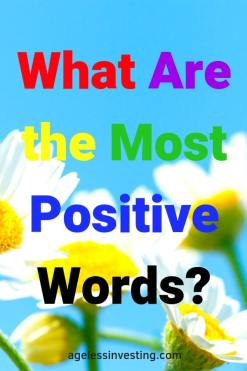 """Daises against a blue sky, headline """"What Are the Most Positive Words?"""""""