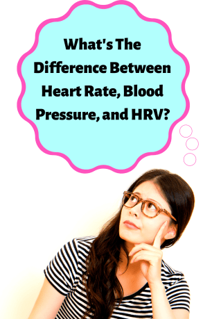 """A picture of a woman looking at a blue thought cloud with the words, """"What's The Difference Between Heart Rate, Blood Pressure, and Heart Rate Variability?"""""""